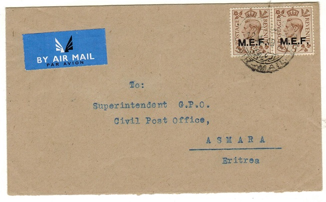 B.O.F.I.C. (Cyrenaica) - 1949 10d rate internal air cover used at BENGHAZI.