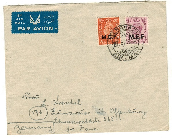 B.O.F.I.C. (Cyrenaica) - 1949 8d rate cover to the French Zone in Germany used at BENGHAZI.
