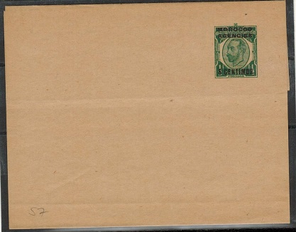 MOROCCO AGENCIES - 1913 5c on 1/2d green postal stationery wrapper unused.  H&G 8.