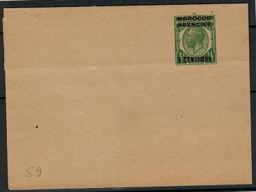MOROCCO AGENCIES - 1918 5c on 1/2d green postal stationery wrapper unused. H&G 10.