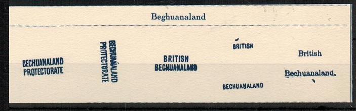 BECHUANALAND - 1885 range of Fournier overprints on piece.
