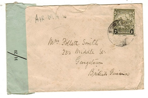 BARBADOS - 1942 1/- rate OPENED BY CENSOR h/20 censor cover to British Guiana.