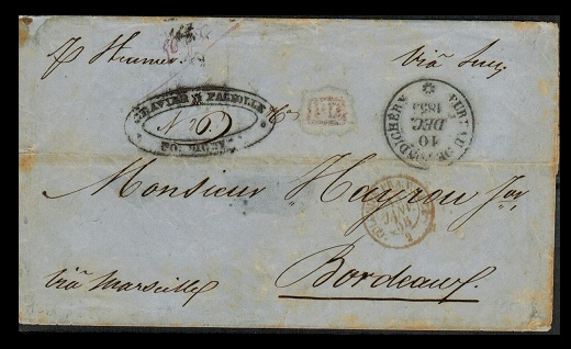INDIA (Pondicherry) - 1855 stampless wrapper to France with BUREAU DE PONDICHERRY cds.