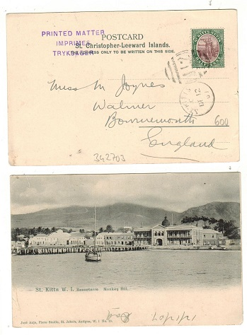 ST.KITTS - 1907 1/2d rate postcard to UK.