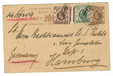 HONG KONG - 1909 1c brown PSC uprated to Germany.  H&G 24.