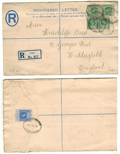 NIGERIA - 1914 2d ultramarine RPSE uprated to UK used at LAGOS.  H&G 1a.
