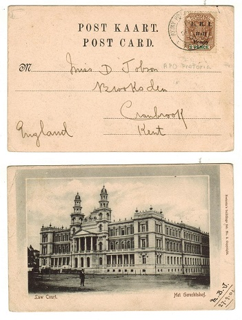 TRANSVAAL - 1901 1/2d on 2d surcharge adhesive on postcard to UK used at ARMY POST OFFICE/PRETORIA.
