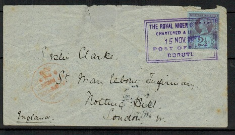 NIGER COAST - 1898 2 1/2d rate ROYAL NIGER COMPANY/BURUTU cover to UK.