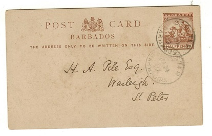 BARBADOS - 1892 1/2d brown PSC used locally from ST.PETERS.  H&G 8.