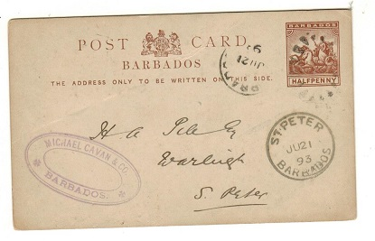 BARBADOS - 1892 1/2d brown PSC used locally with ST.PETERS arrival cds.  H&G 8.