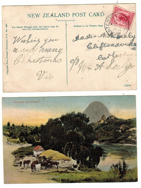 NEW ZEALAND - 1907 1d rate postcard use to UK used at CARTERTON.