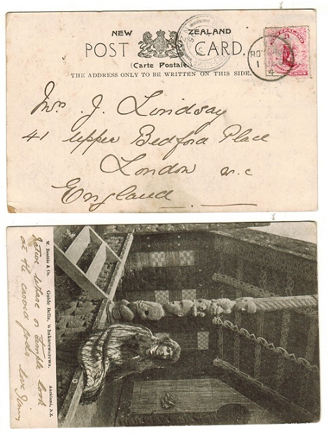 NEW ZEALAND - 1905 1d rate postcard use to UK used at ROTORUA with TRAVELLING PO THAMES strike.