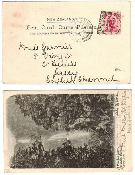 NEW ZEALAND - 1903 1d rate postcard use to UK used at NAPIER with TRAVELLING PO NAPIER strike.