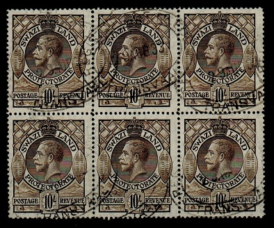 SWAZILAND - 1933 10/- (SG 20) block of six cancelled REGISTERED/TRANSVAAL.