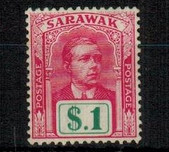SARAWAK - 1918 $1 bright rose and green fine mint.  SG 61.
