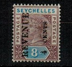 SEYCHELLES - 1894 4 CENTS/REVENUE surcharge on 8c brown and blue fine mint.