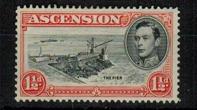 ASCENSION - 1944 1d black and vermilion mint showing the DAVIT FLAW. SG 40ba.