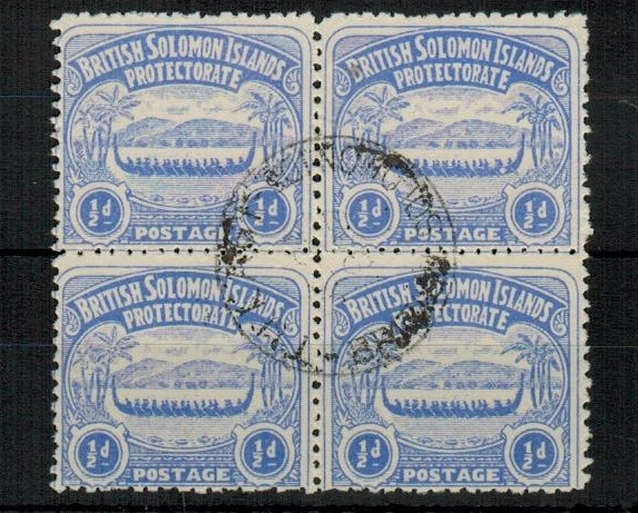 SOLOMON ISLANDS - 1907 1/2d ultramarine in a fine block of four with central TULAGI cds. SG 1.