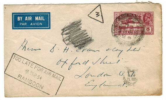BURMA - 1934 use of 8a Indian PSE to UK used at TAVOY with TOO LATE FOR AIR MAIL h/s applied.