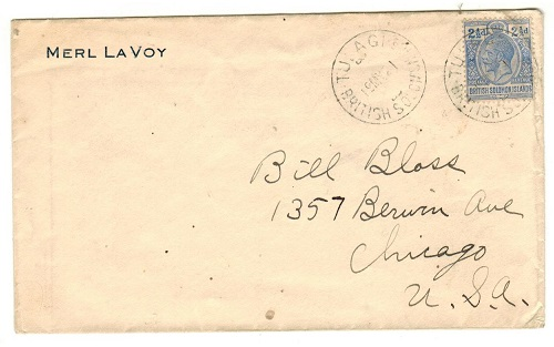SOLOMON ISLANDS - 1921 2 1/2d rate cover to USA used at TULAGI.