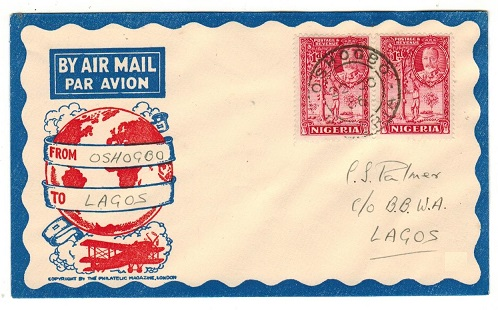 NIGERIA - 1936 first flight cover to Lagos bearing 1d pair tied OSHOGBO.