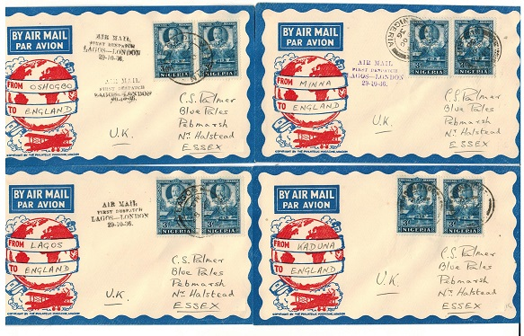 NIGERIA - 1936 four first flight covers to UK from differing Nigerian stages.