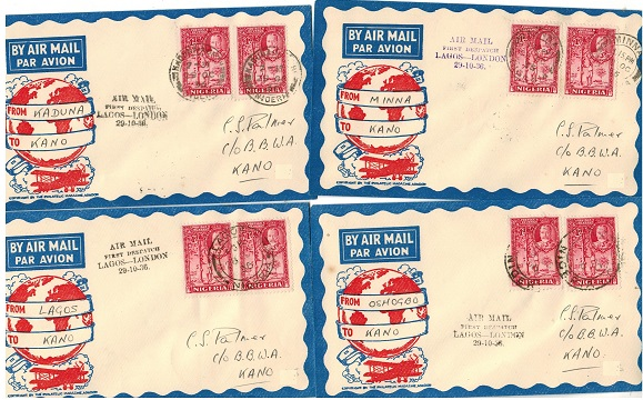 NIGERIA - 1936 four internal first flight covers to Kano from differing stages.