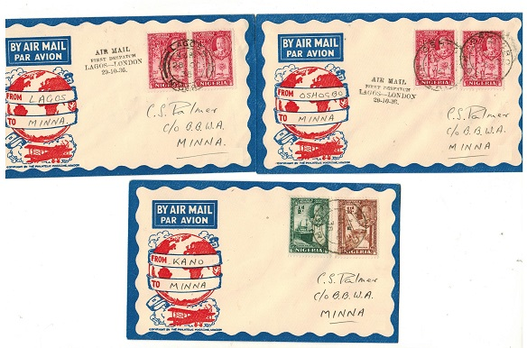NIGERIA - 1936 three internal first flight covers to Minna from differing stages.