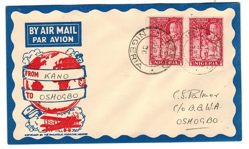 NIGERIA - 1936 first flight cover addressed to Oshogbo bearing 1d pair tied KANO.