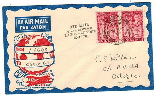 NIGERIA - 1936 first flight cover to Osogbo bearing 1d pair tied LAGOS.
