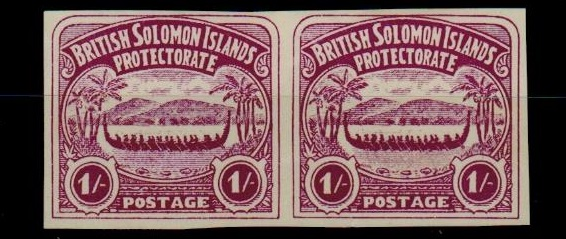 SOLOMON ISLANDS - 1907 1/- unofficial IMPERFORATE PLATE PROOF pair printed in bright purple.