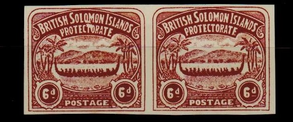 SOLOMON ISLANDS - 1907 6d unofficial IMPERFORATE PLATE PROOF pair printed in chocolate.