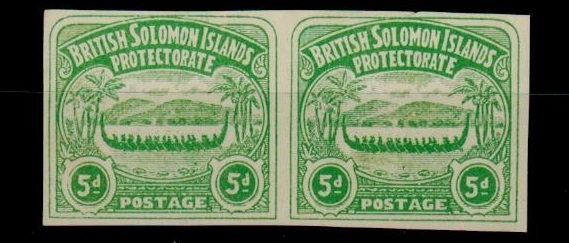 SOLOMON ISLANDS - 1907 5d unofficial IMPERFORATE PLATE PROOF pair printed in emerald green.
