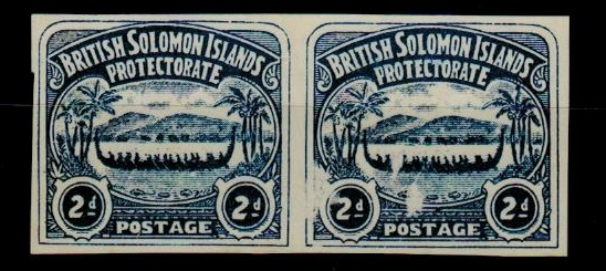SOLOMON ISLANDS - 1907 2d unofficial IMPERFORATE PLATE PROOF pair (fault) printed in indigo.