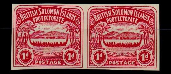 SOLOMON ISLANDS - 1907 1d unofficial IMPERFORATE PLATE PROOF pair printed in rose-carmine.
