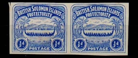 SOLOMON ISLANDS - 1907 1/2d unofficial IMPERFORATE PLATE PROOF pair printed in ultramarine.