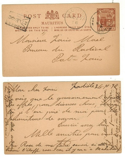 MAURITIUS - 1896 2c brown PSC used locally from ROSE BELLE.  H&G 8.