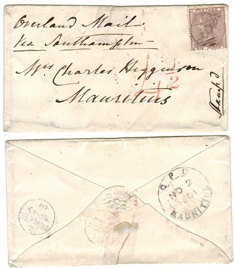 MAURITIUS - 1861 inward cover from UK with rare