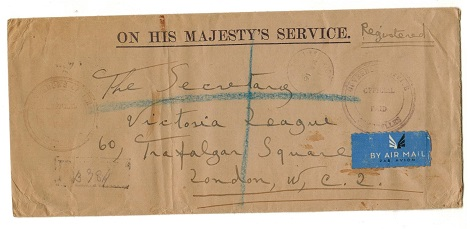 SEYCHELLES - 1944 registered OHMS cover to UK with OFFICIAL/PAID handstamp.