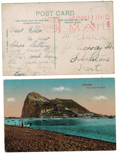 GIBRALTAR - 1942 (circa) unstamped picture postcard to UK struck POST OFFICE/MARITIME MAIL.