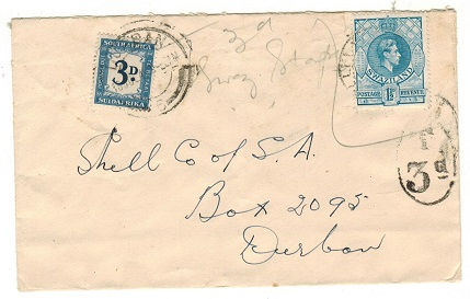 SOUTH AFRICA - 1949 underpaid inward cover from Swaziland with 3d