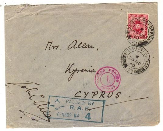 CYPRUS - 1940 inward cover from Egypt with