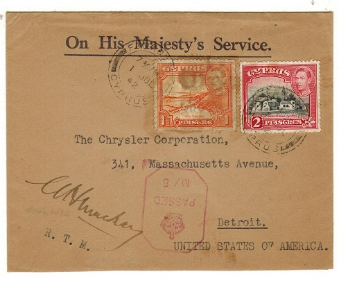 CYPRUS - 1942 3p rate use of OHMS envelope to USA with