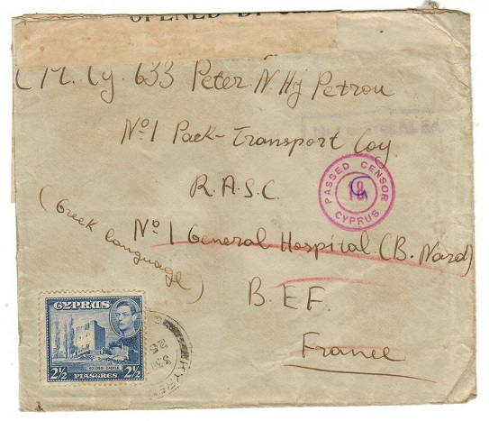 CYPRUS - 1942 (circa) 2 1/2p rate cover to France with