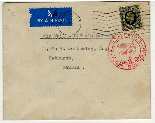 GAMBIA - 1938 inward Zeppelin post cover from UK via the experimental South American flight.