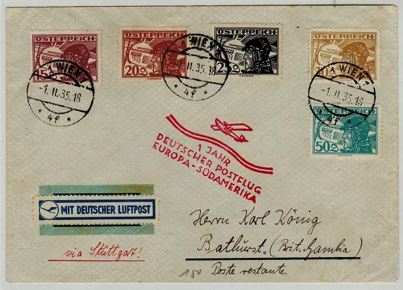 GAMBIA - 1935 inward Graf Zeppelin flight cover from Austria.