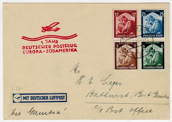 GAMBIA - 1935 inward Graf Zeppelin flight cover from Germany.