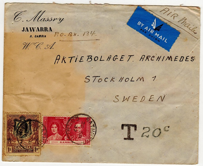 GAMBIA - 1937 cover to Sweden originating from Jawarra and underpaid.