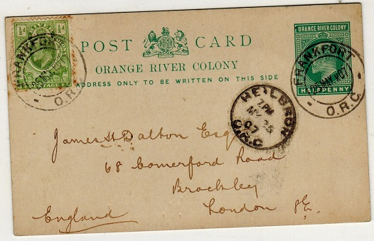 ORANGE RIVER COLONY - 1902 1/2d green PSC to UK used at FRANKFORT.  H&G 35.
