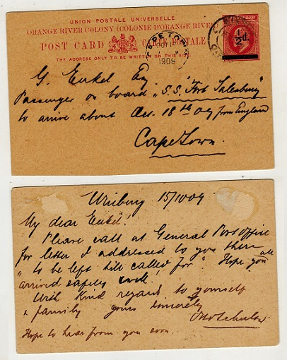 ORANGE RIVER COLONY - 1909 1/2d black on 1d carmine PSC to CapeTown used at WINBURG.  H&G 39.
